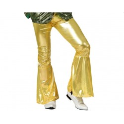 Pantalon disco jaune or brillant