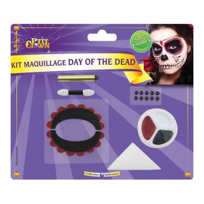 Kit maquillage Day of the Dead - auto.+strass+palette+crayon+ép.+pi