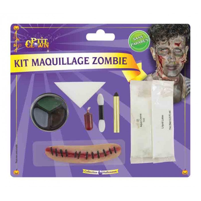 Kit maquillage zombie - cic.+latex+fard phos.+sang+cray.+pal.+ep+ap
