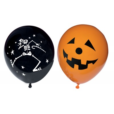 10 ballons halloween orange et noir