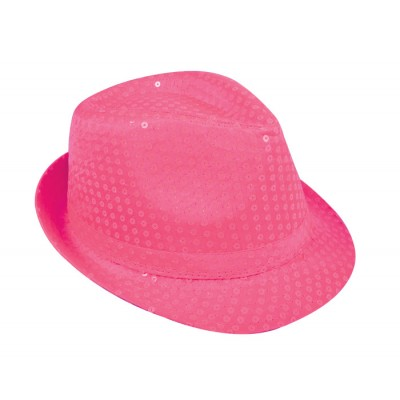 borsalino adulte sequin rose fluo