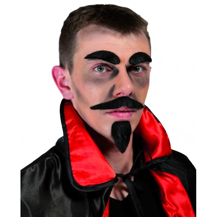 Moustache + barbichette + sourcils diable - noir