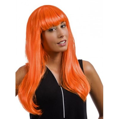Perruque cheveux longs raides orange
