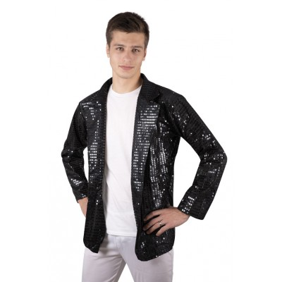 Veste disco à sequins noir adulte