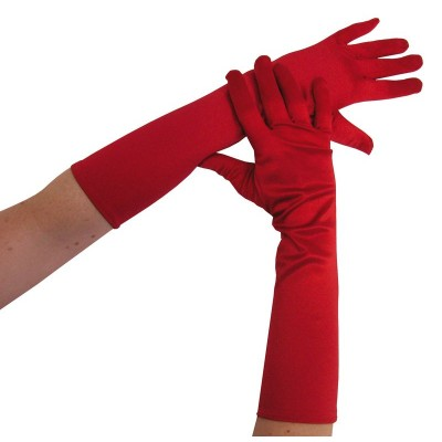 Gants longs 40 cm rouge satiné