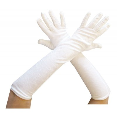 Gants longs 53 cm velours blanc