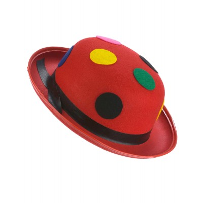 Chapeau melon rouge clown à pois adulte