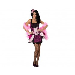 *Déguisement robe de cabaret charleston rose à franges